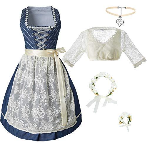 dressforfun 950021 Damen Trachtenset, 5-teilig, Beige Blaues Dirndl + beige Trachtenbluse mit Halskette, Armschmuck und Blumenkranz - Diverse Größen (Dirndl XXL | Bluse XXL | Nr. 350214)