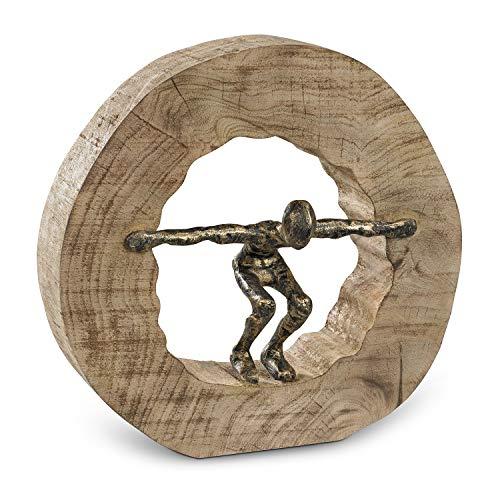 Moritz Skulptur Wage den Sprung Mangoholz Alu Massive Mangoholz - Baumscheibe Handarbeit 28 x 27,5 cm Schwarz Gold