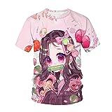 Camiseta Demon Slayer Kimetsu no Yaiba 3D T-Shirts Manga Corta Trendy Tops Amantes del Anime Regalo para Hombre-A_XL