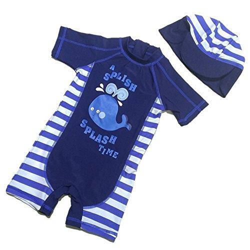 Tyidalin Jungen Badeanzug Einteiler Baby Schwimmanzug UV-Schutz Kinder Badebekleidung Bademode mit Sonnenhut, Blau, 92/98