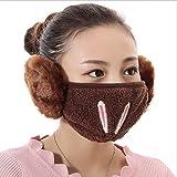 KOUZHAO Staubmaske Maske Mundschutzmaske Winddichter Ohrenschützer Anti-Staub-Wintermasken Mädchen Anti Haze Flu Baumwolle Gesichtsmasken, Kaffee