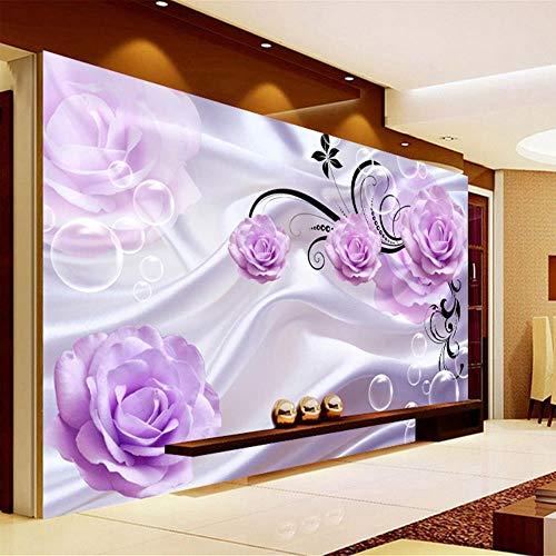 Lila 3D-Bildertapete Mit rosa Seide Blumen Modern Hintergrund Einfache Romantische Wohnzimmer Schlafzimmer Wandgestaltung Wandbild Tapete