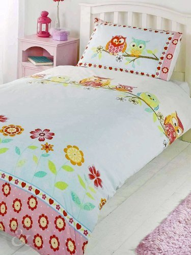 Just Contempo Kids Owls Duvet Cover Set, Single, Pink by Just Contempo