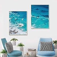 Xuetaozz ブルーオーシャン沿岸の壁アート写真海のビーチ自然風景ポスターとプリント北欧の装飾リビングルームのキャンバスの絵画-40x60cmx2フレームなし