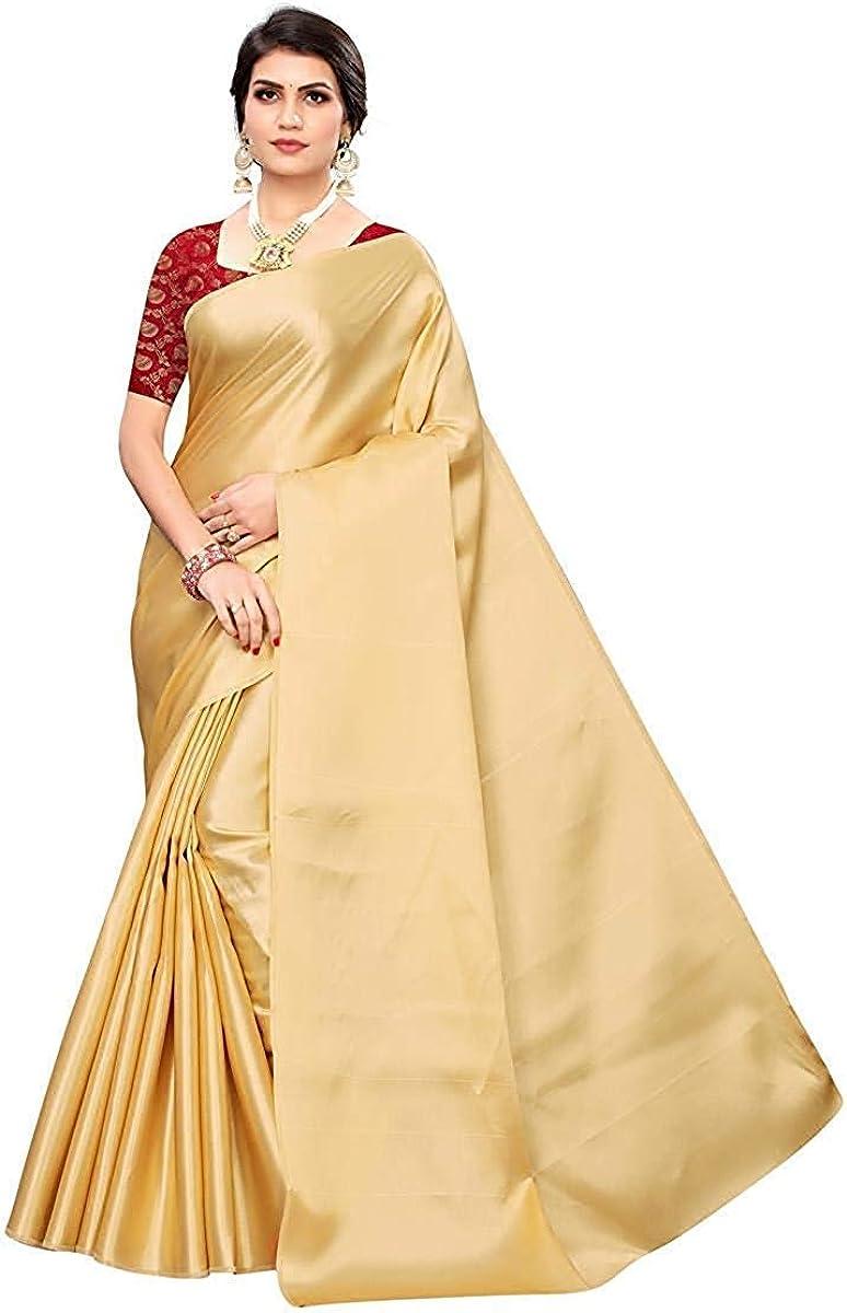Max 62% OFF HK Textiles Discount is also underway Women's Plain Satin Saree Design Br Dress Heavy with