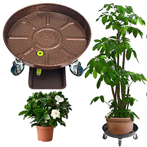 Zdcdy Round Metal Tray with Universal Wheels, Flower Pot Mover with Water Container, Plant Trolley for Heavy Garden Pot, Removable Flowerpot Stand Indoor Outdoor Home Garden Tools,Bronze-6