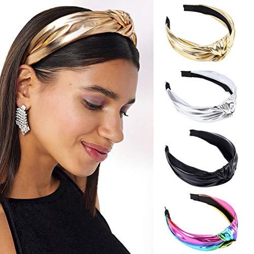 Sethexy annodata Fascia per capelli Lucido Pelle Cerchi 4 pz Elastico Head Wrap Cerchietto Fascia per donne e ragazze