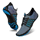Mens Womens Water Shoes Aqua Shoes Swim Shoes Beach Sports Quick Dry Barefoot for Boating Fishing Diving Surfing with Drainage Driving Yoga Upstream (E-Blue/Grey, 43)