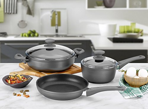Saflon Titanium Nonstick 5-Piece Cookware Set 4mm Forged Aluminum with PFOA Free Scratch-Resistant Coating from England, Dishwasher Safe