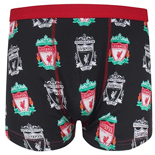 Liverpool FC Herren Wappen Boxershorts YNWA Liverbird - 95% Baumwolle; 5% Elasthan - Schwarz/Mehrfarbig mt Wappen - L