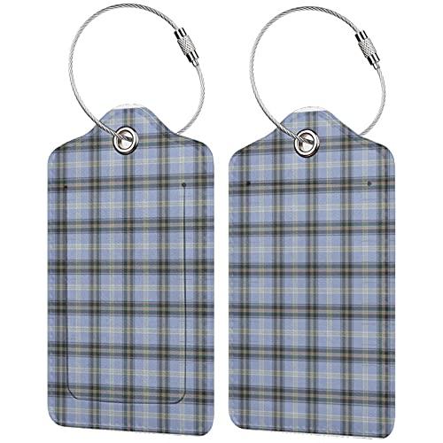 2 etiquetas para equipaje, etiquetas de piel sintética para equipaje con cierre de acero inoxidable para bolsa de viaje, maleta, clan, campana, tartán escocés original