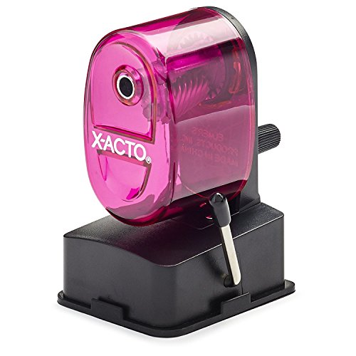 X-Acto 2012687-PNK Bulldog Vacuum Wall Mount Manual Pencil Sharpener, Pink, See-through Receptacle, Affix to Any Nonporous Surface, X-ACTO Hardened Helical Cutter