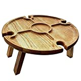 Tixiyu Tavolo da picnic pieghevole in legno, tavolo da vino 2 in 1 per bicchieri di vino, piatto a scompartimento, perfetto per gli amanti del vino, feste o banchetti