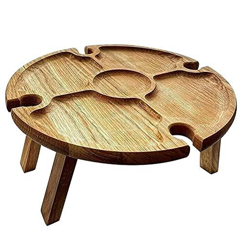 Akemaio Mesa de picnic plegable para vino de madera, 2 en 1, estante para copas de vino, mesa de vino, mesa de picnic de madera, bandeja de compartimiento para interior y exterior