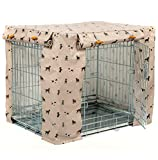 Lords & Labradors Oilcloth Dog Crate Cover to fit Pets at Home Double Door Dog Crate - Fits Midwest iCrate (Cosmopolitan Dog, Medium 36')