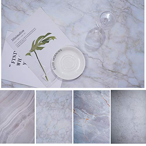 Bcolor Food Photography Marble Backdrop 2 Pack 27x39Inch/ 70x100cm Background Paper Double Sided for Food Product Jewelry Tabletop Pictures Flat Lay Photo Props