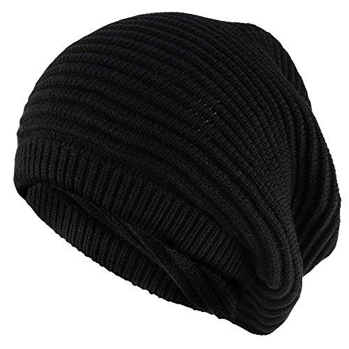 Armycrew 11 Inch Deep Crown Style Rasta 100% Cotton Beanie Hat - Black