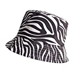 JXMK Zebra Streep Print Emmer Hoed Zomer Dames Mannen Zwart Wit Katoenen Caps Meisjes Outdoor Strand Panama Hoeden
