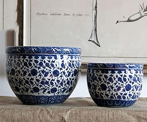 Pecera 2 PCS Conjunto de cerámica de pecamera de peceta azul y blanco Pescado de porcelana Decoraciones Decoraciones de...