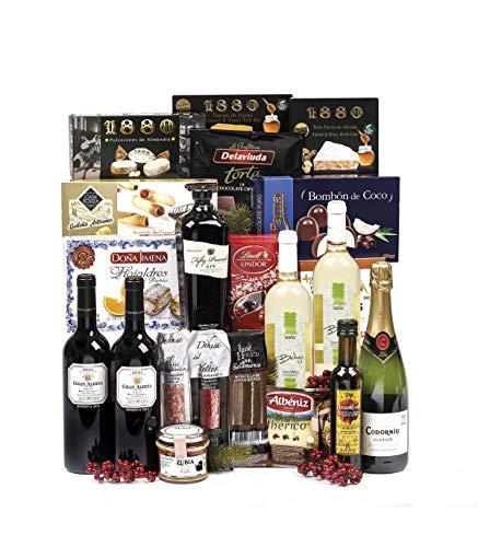 Sadival Lote de Navidad con Ginebra, selección de ibéricos, cava, vino y productos y dulces navideños (18)
