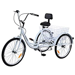cheap Ridgayard 7 Speed White 24inch Adult Tricycle Tricycle Cruising Cargo Bike with Folding Basket