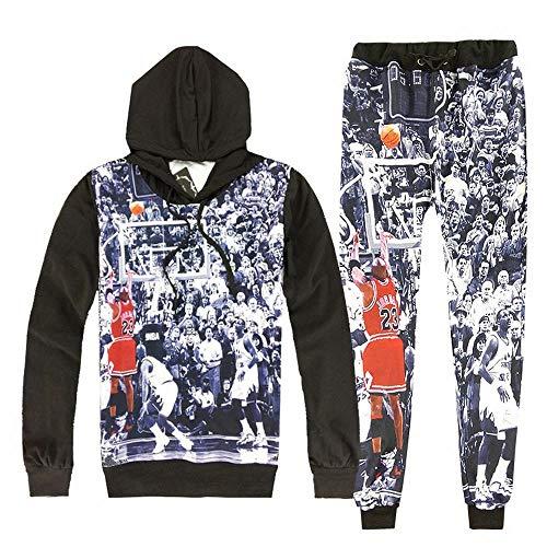 Ancia Damen Emoji-100Noten Bedruckt Pullover Sweatshirts/Jogger Sweatpants Set, Damen Herren Unisex, Black 100 Score