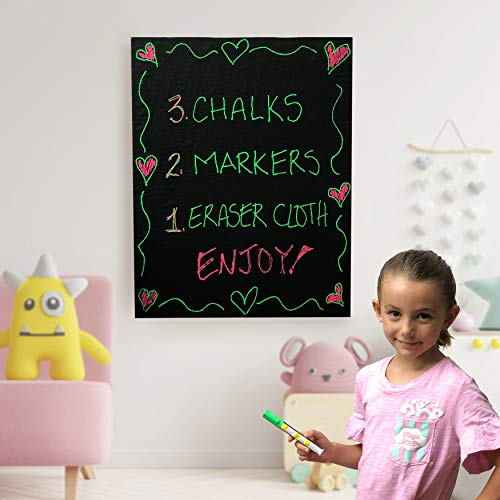 MioTetto Large Chalkboard Contact Paper Roll | 17.7'x78.7' Chalk Board Wallpaper with 2 Special Markers, Chalks & Eraser | Adhesive Blackboard Wall Decal Vinyl | Chalkboard Paint Alternative Stickers
