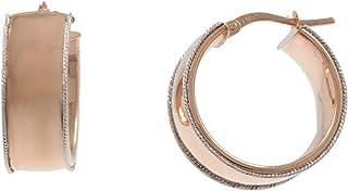 Gioiello Italiano - Orecchini a cerchio larghi in oro 14kt, due colori, diametro 2cm, da donna