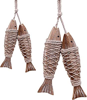 Handcrafted Hanging Wooden Fish,Set of 4,Nautical Ornaments Antique Home Wall Decor Nautical Gift for Beach Lovers