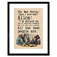 Wee Blue Coo Alice In Wonderland Framed Art Print Mad Hatter Tea Party Quote Poster Gift With Wall H...
