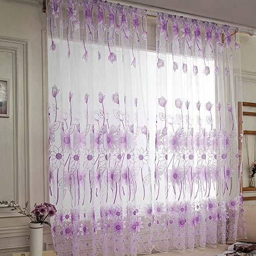 Hahuha Vorhang, 1 PCS Vines Blätter Tüll Tür Fenster Vorhang Vorhang Panel Sheer Schal Volants Home Decor