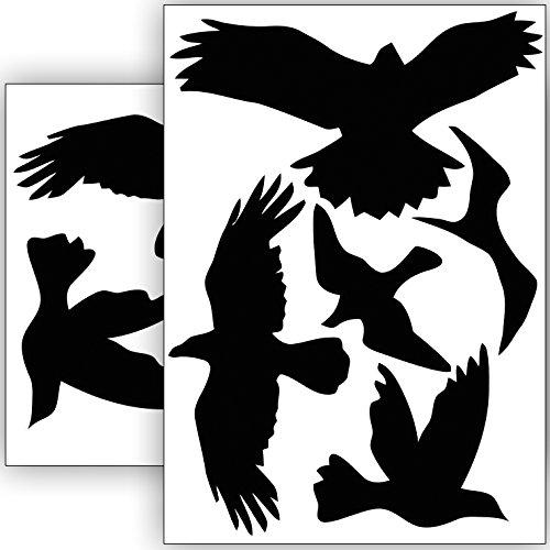 Vogelschutz und Fensterschutz - 10 Aufkleber - Schutz vor Vogelschlag - Sticker Vögel (Schwarz)