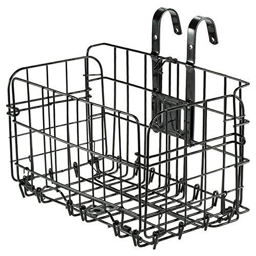 Cesta de bicicleta trasera plegable, cesta de bicicleta colgante trasera, bolsa de bicicleta, estante de carga, bicicleta plegable de metal, cesta trasera delantera, manillar de bicicleta, negro