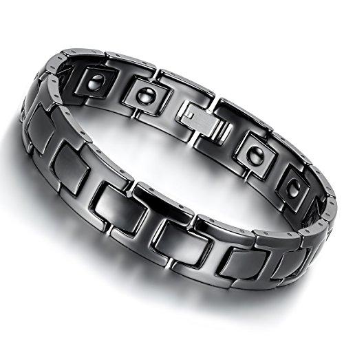 Biker-Armband von Cupimatch, 12 mm breites, magnetisches Glieder-Kettenarmband, schwarzes Keramik, für Herren, 21 cm