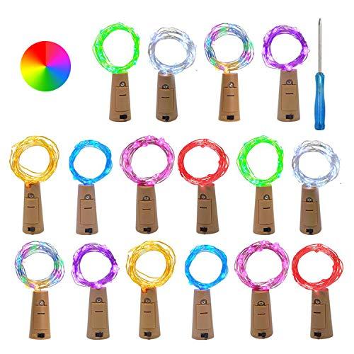 VIPMOON (16 Piezas) 2m/6.6pie LED Luces de Cuerda Plástica de Alambre Plateado con Corcho Plástico para Botella Planta o Vidrio(con Pilas)Decoración Romántica para Boda Fiesta Hogar Jardín, Multicolor