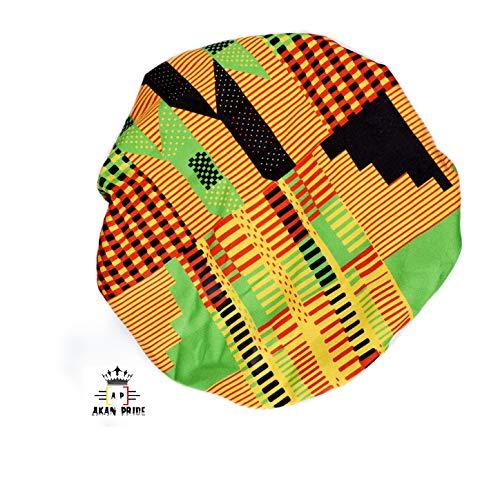 Akan Pride Ankara Satin Bonnets Reversible Satin Bonnet-Premium in Ankara 100% Cotton Fabric, Satin Sleep Bonnet Cap, Double Layered, Reversible, Multi Color Patterns (Regular, Multi-3)