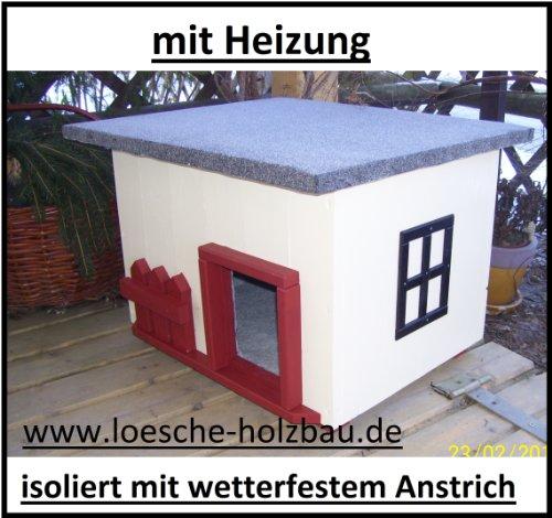 """Katzenhaus mit Heizung \""""Landhaus\"""" Katzenhütte Wurfkiste wetterfest isoliert beheizt"""