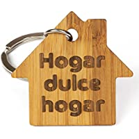 Llavero de Madera de Bambú Eco-Friendly Hogar, Dulce Hogar Llaves de Nuevo Hogar, Llaves del Coche, Llaves de Casa