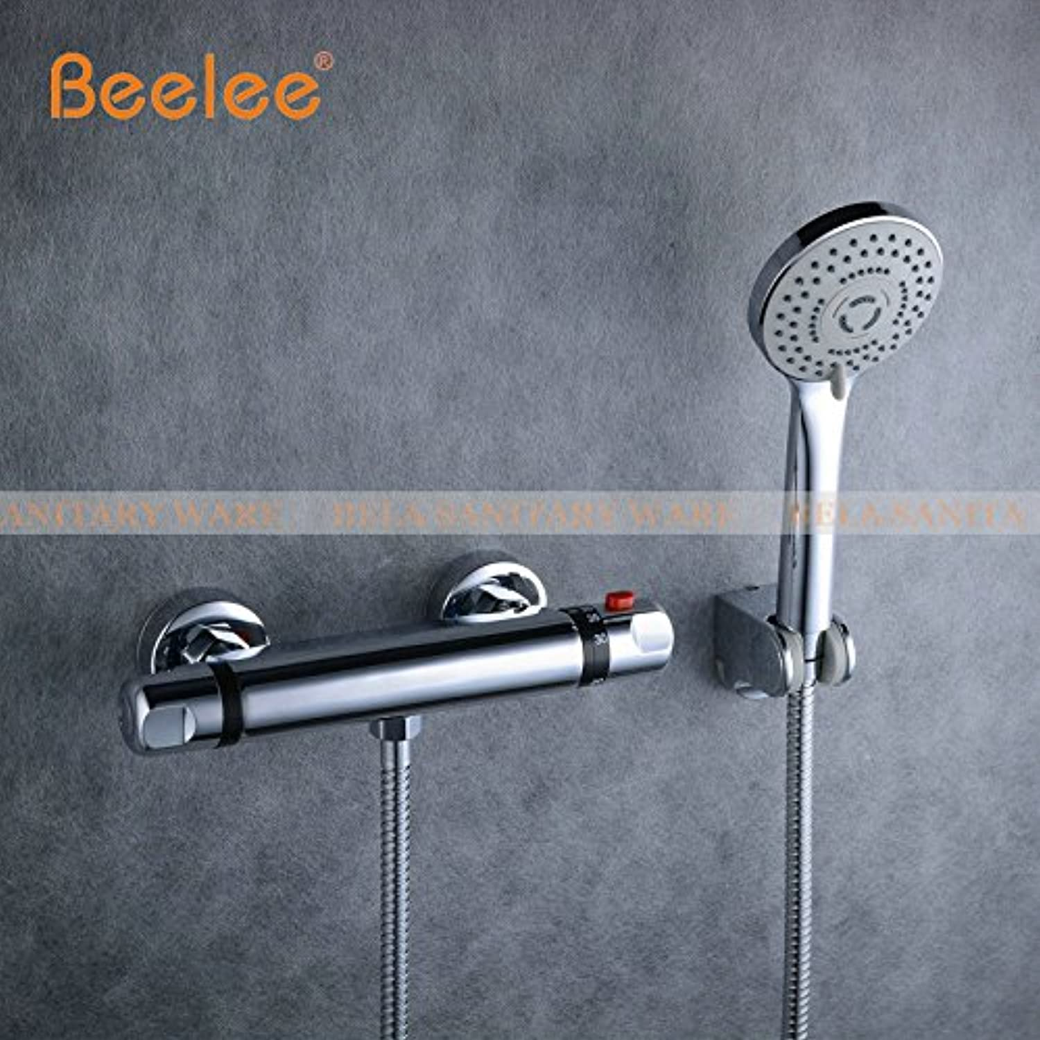 Luxurious shower Beelee neue Dusche Wasserhahn Set Bad thermostatische Mischbatterie Chrom Mischbatterie W ABS Handbrause Wandmontage BL0205, BL0205 P
