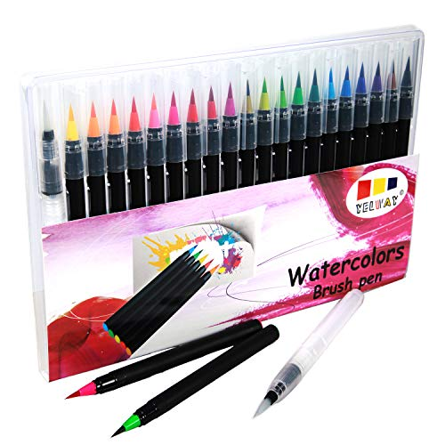 Watercolor Brush Pens Set,Yelway 20 Colors Water Based Drawing Marker Brushes with Flexible Tip for Adult and Kids Coloring Books, Drawing, Manga,Calligraphy, Writing and More
