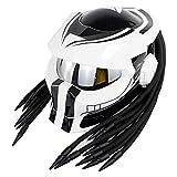 NNYY Casco de motocicleta, depredador integral con luces LED y lentes plateadas, unisex ABS material shell EPS tampón capa, blanco, S