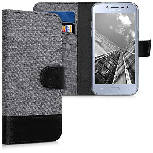 kwmobile Wallet Hülle kompatibel mit Samsung Galaxy J2 Pro (2018) - Hülle Kunstleder mit Kartenfächern Stand in Grau Schwarz