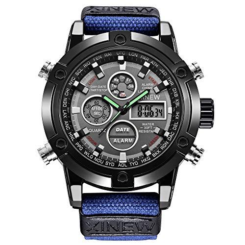 Herren-Sportuhr Nylon Armband Rund Watch Wasserdicht Sport Digital Armbanduhr für Männer Analoge Quarzzeiger Militär Armbanduhr Auto-Kalender Armbanduhr LED-Hintergrundbeleuchtung Digitaluhr