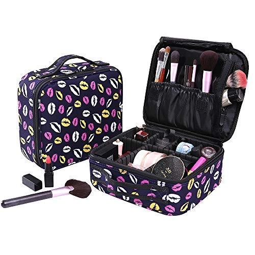 Neceser Maquillaje Impermeable Bolsa de Maquillaje Organizador A Brochas de Maquillaje Estuches Portatil Cosmeticos Bolsa Neceser De Viaje(Violeta con patron labios)