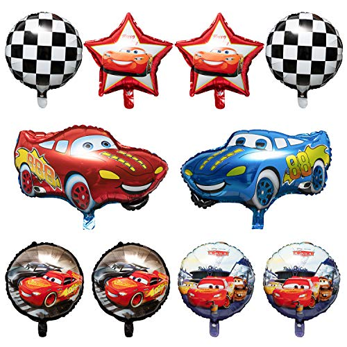 PANTIDE 10 Packs Race Car Foil Balloons, Double-Sided Racing Car Checkered Balloons Party Favors Decorations Supplies for Kids Boys Birthday Party Baby Shower, Let's Go Racing Birthday Celebration Set