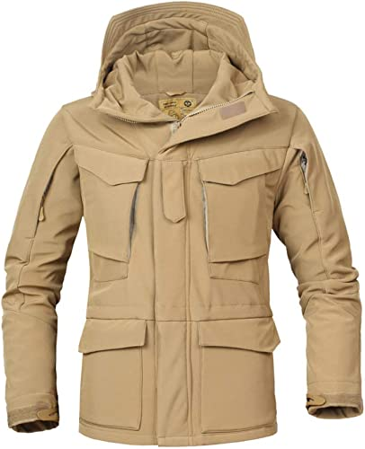 LIUYL Hommes Vestes Tactiques Imperméables Trench Coats Hiver en Plein Air Randonnée Randonnée Militaire Veste Softshell Polaire Coupe Multi-Poches Veste