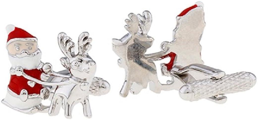 MRCUFF Santa Sleigh Christmas Reindeer Pair Cufflinks in Presentation Gift Box & Polishing Cloth