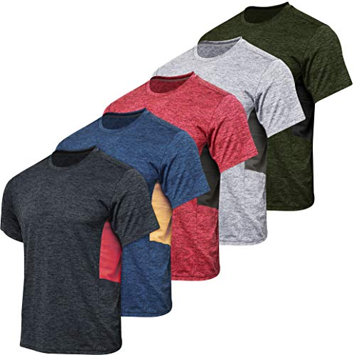 Men's Quick Dry Fit Dri-Fit Short Sleeve Active Wear Training Athletic Essentials Crew T-Shirt Fitness Gym Wicking Tee Workout Casual Sports Running Undershirt Top - 5 Pack,Set 5-XXL