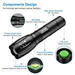 Flashlights, LED Tactical Flashlight S1000 - High Lumen, 5 Modes, Zoomable, Water Resistant, Handheld Light - Best… 9 Super lighting: S1000 High lumen flashlight LED bulb provides bright light, easily light up an entire room or focus in on objects up to 1000 feet away! Conveniently takes 3 standard AAA batteries or 1x18650 rechargeable button top Li-ion battery. (Batteries are not included. ) 5 modes: fit in your pocket, backpack, or purse allowing, survival bag, or car glove compartment for easy storage and quick access. Focus in or zoom out to sweep a large area. 5 settings replace the need for multiple flashlights: (high medium low strobe SOS) makes for a practical addition to any household or emergency kit. Adjustable focus our flashlights utilize the latest durable CREE XML T6 LED chip, provides super bright light beam. Easy-controlled head-pulling zoom and easy mode-switch by light taps of button. Adjustable focus for use in different situations (just rotate torch head to adjust zoom)