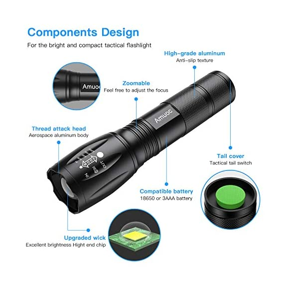 Flashlights, LED Tactical Flashlight S1000 - High Lumen, 5 Modes, Zoomable, Water Resistant, Handheld Light - Best… 2 Super lighting: S1000 High lumen flashlight LED bulb provides bright light, easily light up an entire room or focus in on objects up to 1000 feet away! Conveniently takes 3 standard AAA batteries or 1x18650 rechargeable button top Li-ion battery. (Batteries are not included. ) 5 modes: fit in your pocket, backpack, or purse allowing, survival bag, or car glove compartment for easy storage and quick access. Focus in or zoom out to sweep a large area. 5 settings replace the need for multiple flashlights: (high medium low strobe SOS) makes for a practical addition to any household or emergency kit. Adjustable focus our flashlights utilize the latest durable CREE XML T6 LED chip, provides super bright light beam. Easy-controlled head-pulling zoom and easy mode-switch by light taps of button. Adjustable focus for use in different situations (just rotate torch head to adjust zoom)
